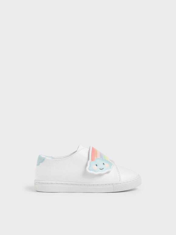 Girls' Rainbow Slip-On Sneakers, White, hi-res