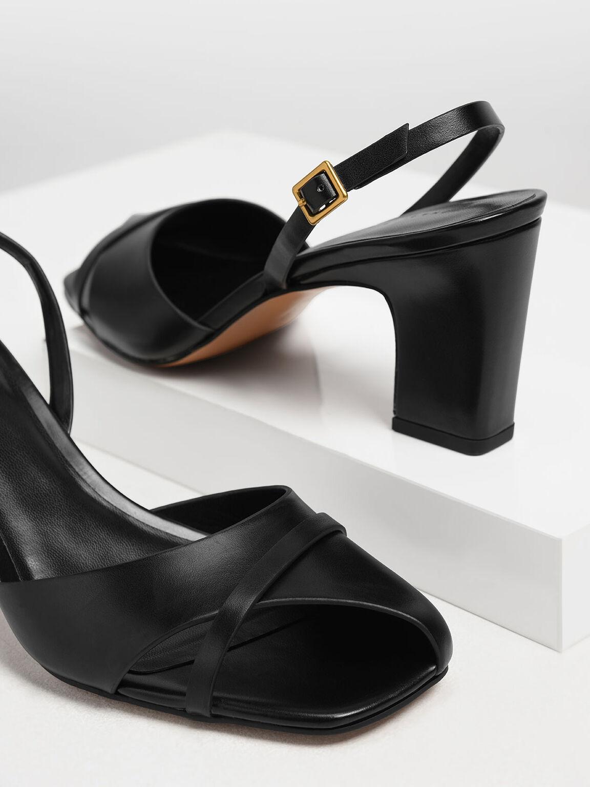 Asymmetrical Peep Toe Heels, Black, hi-res