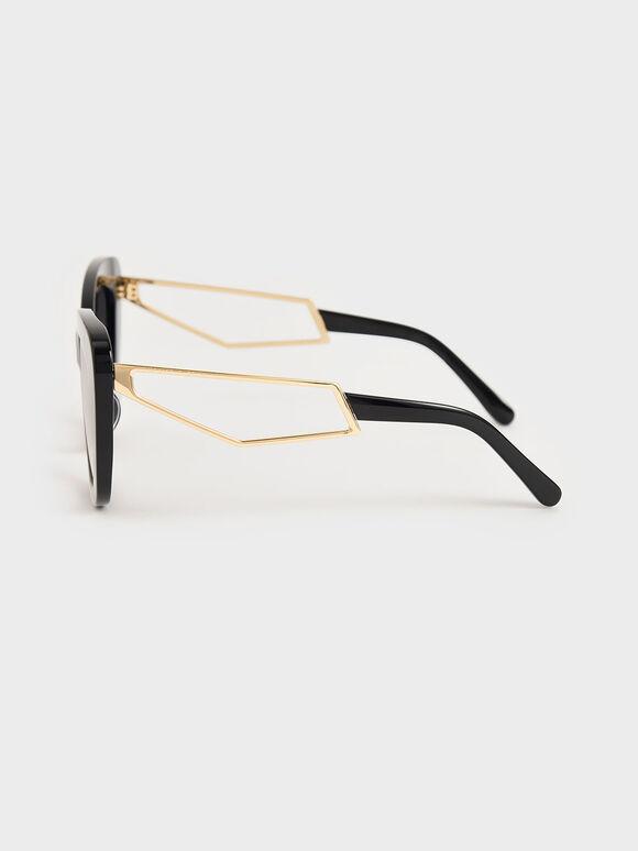 蝴蝶粗框墨鏡, 黑色, hi-res