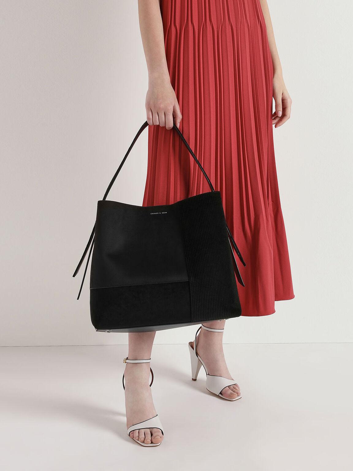 Velvet & Corduroy Square Tote Bag, Black, hi-res
