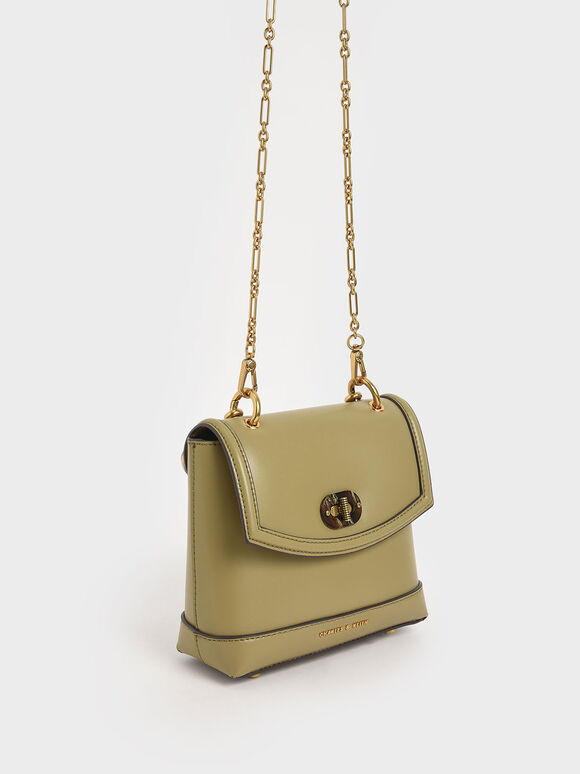 Stone-Embellished Top Handle Bag, Khaki, hi-res