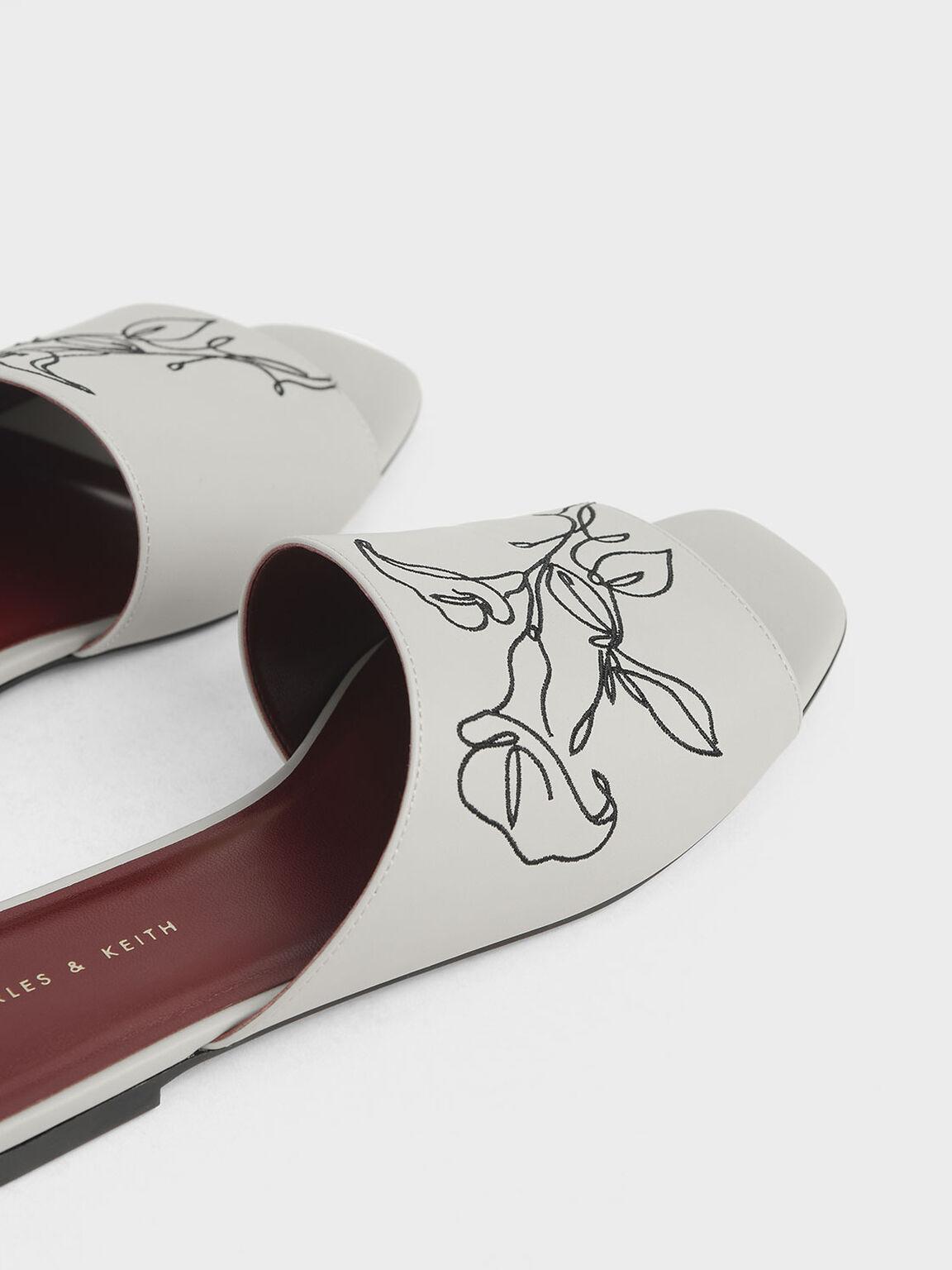 Floral Embroidered Slide Sandals, Chalk, hi-res