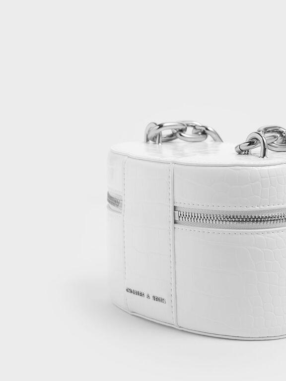 Croc-Effect Bracelet Round Bag, White