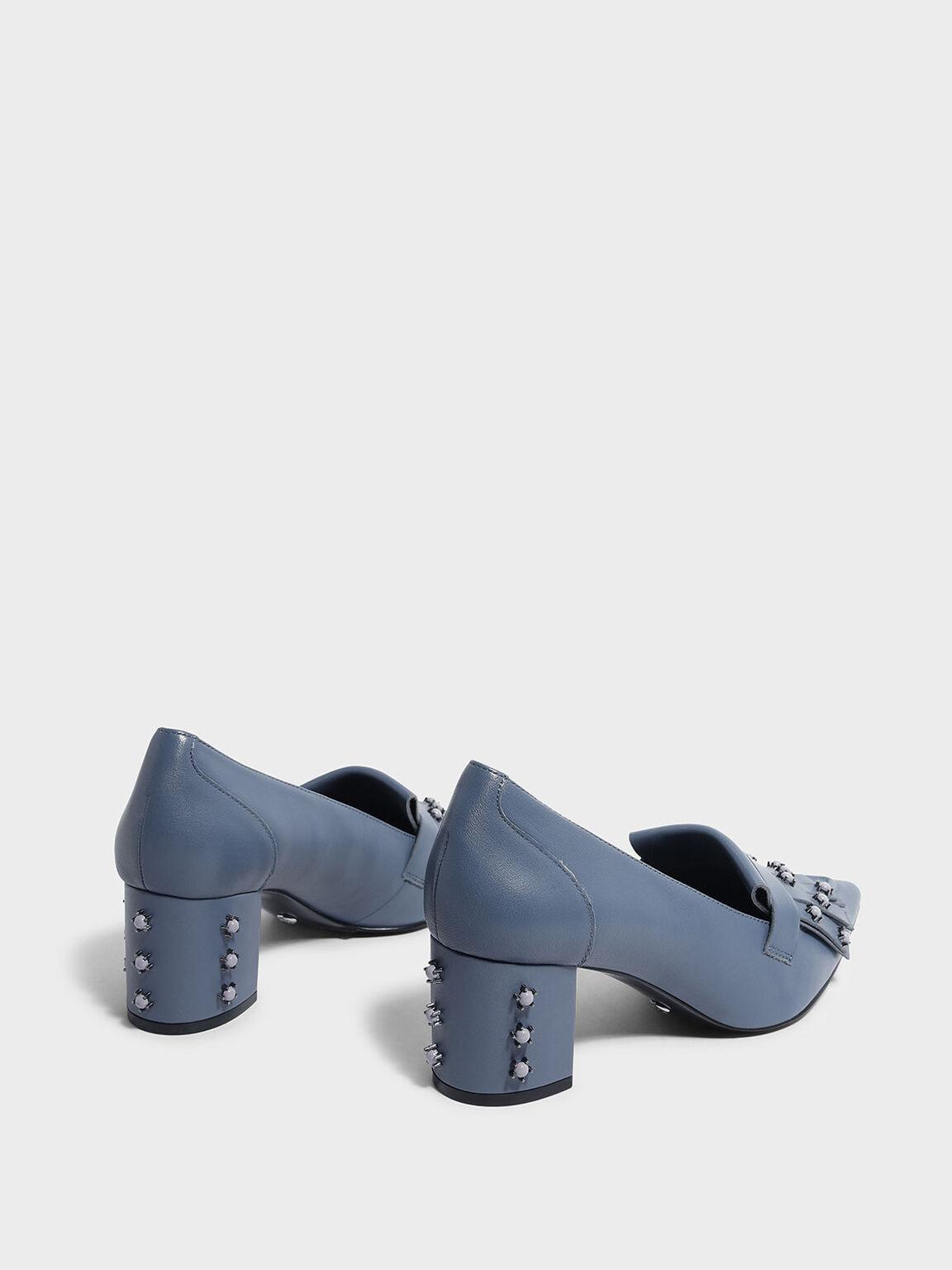 Embellished Leather Moccasins, Slate Blue, hi-res