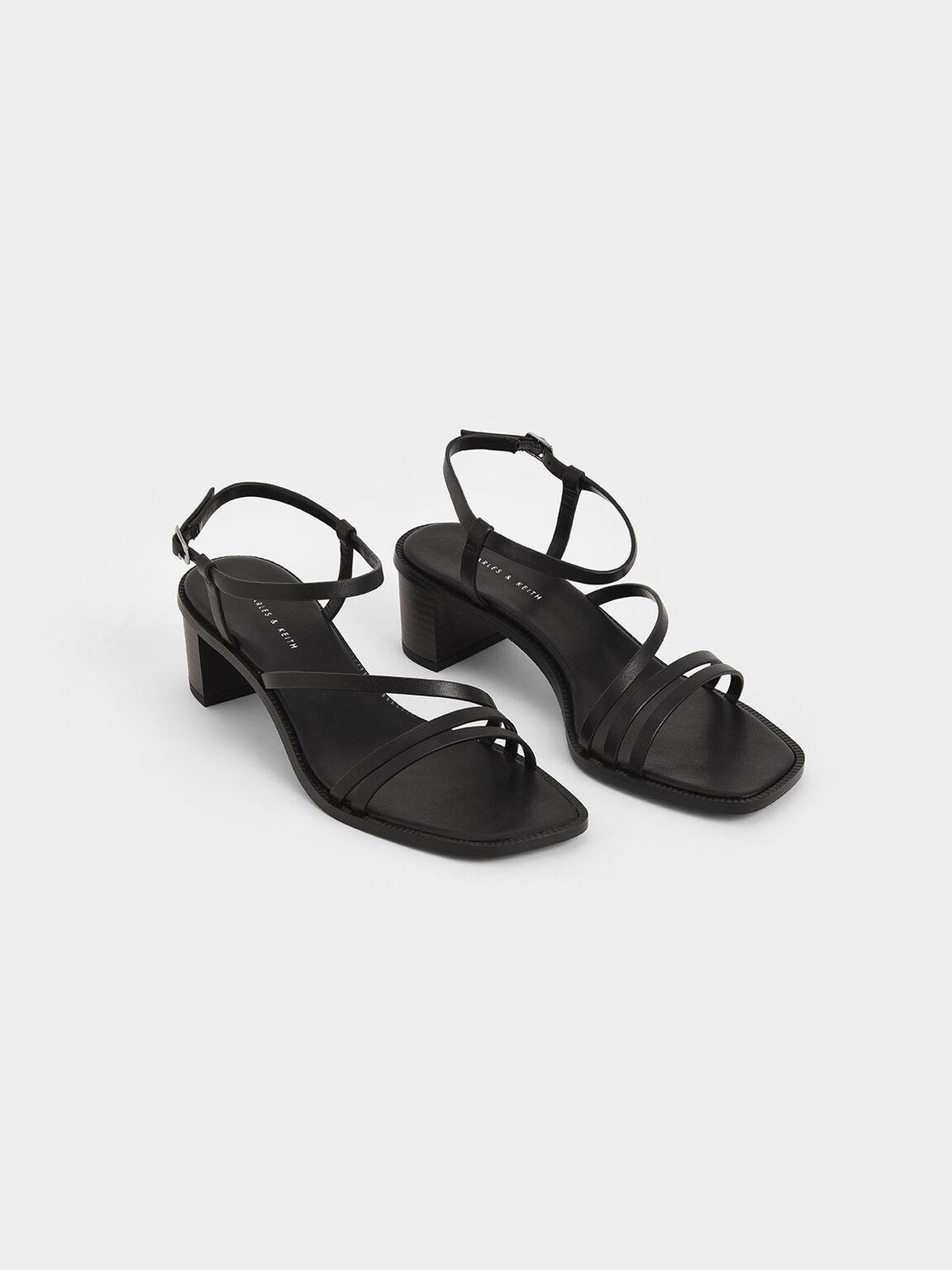 多帶方頭涼鞋, 黑色, hi-res