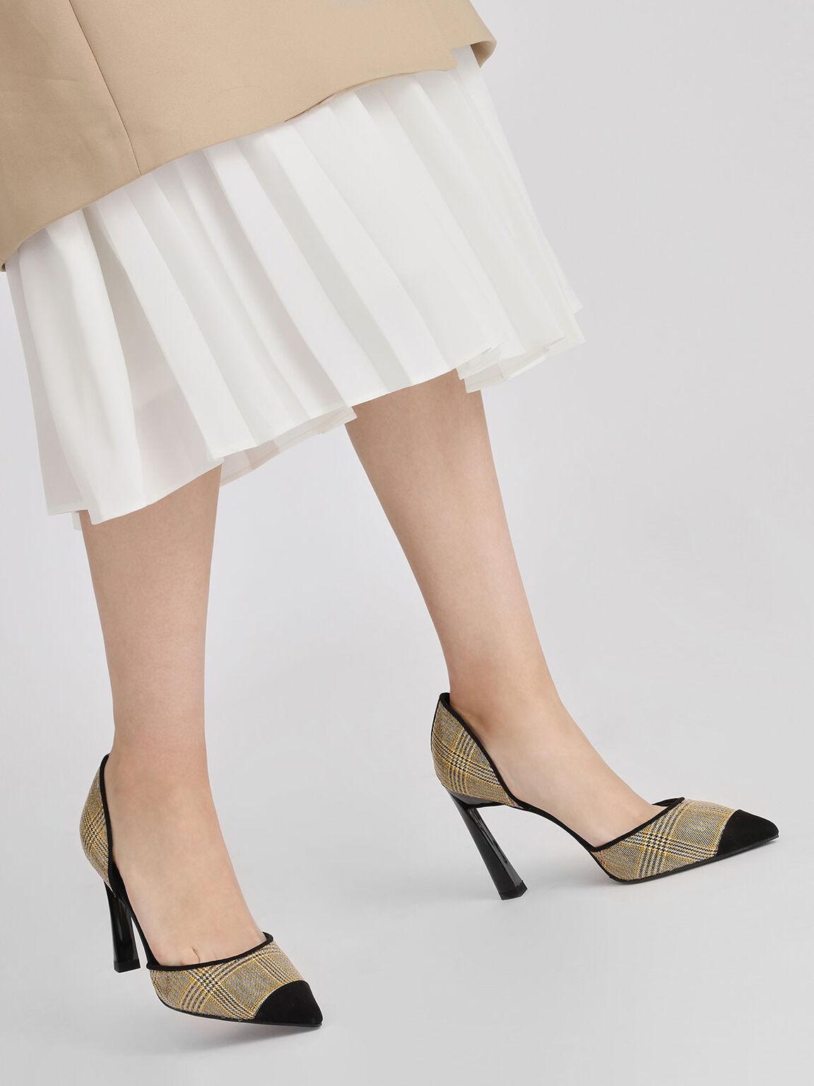 Pointed D'orsay Heels, Mustard, hi-res