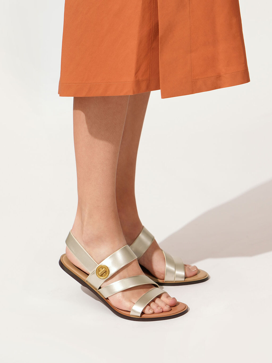 Asymmetrical Strappy Sandals, Gold, hi-res
