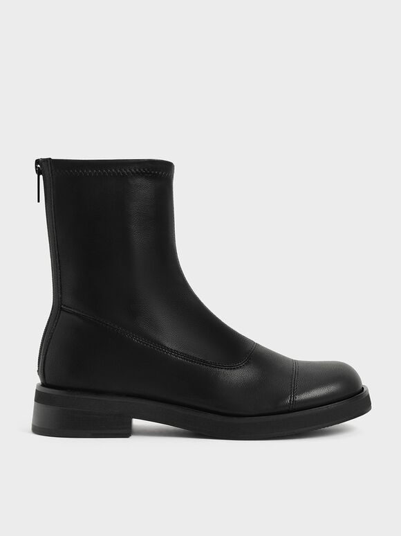 Round Toe Zip-Up Ankle Boots, Black, hi-res