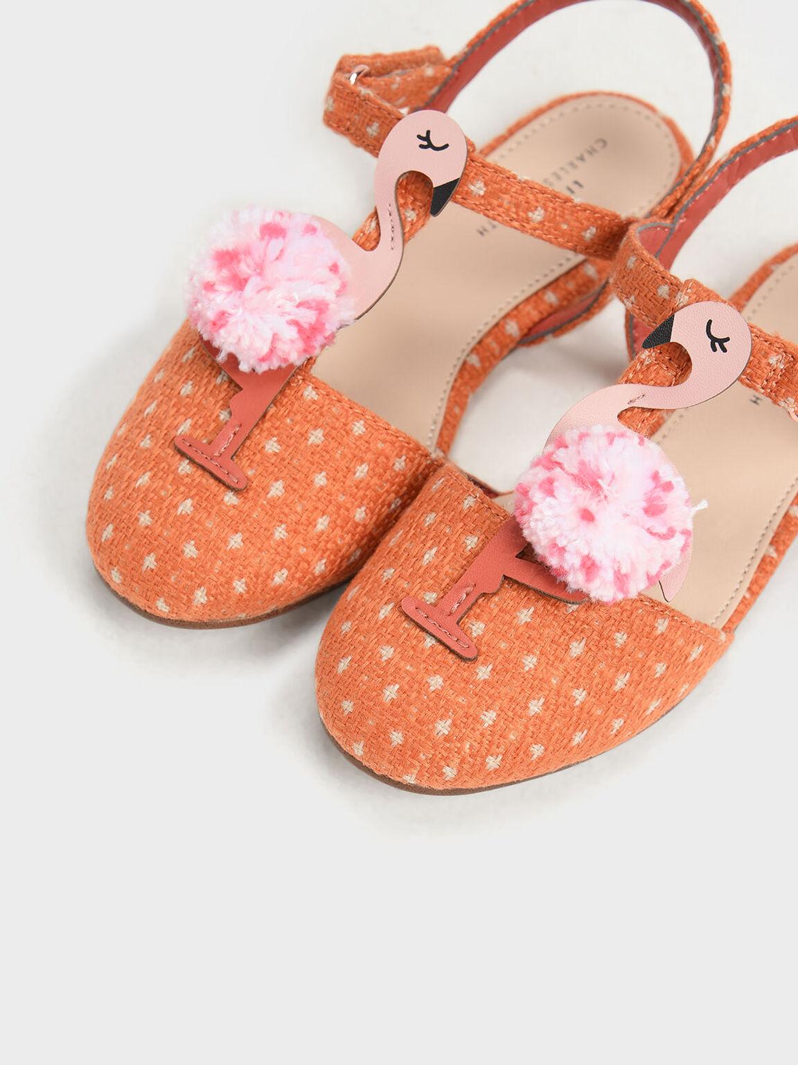 Kids' Flamingo Pom-Pom Sandals, Orange, hi-res