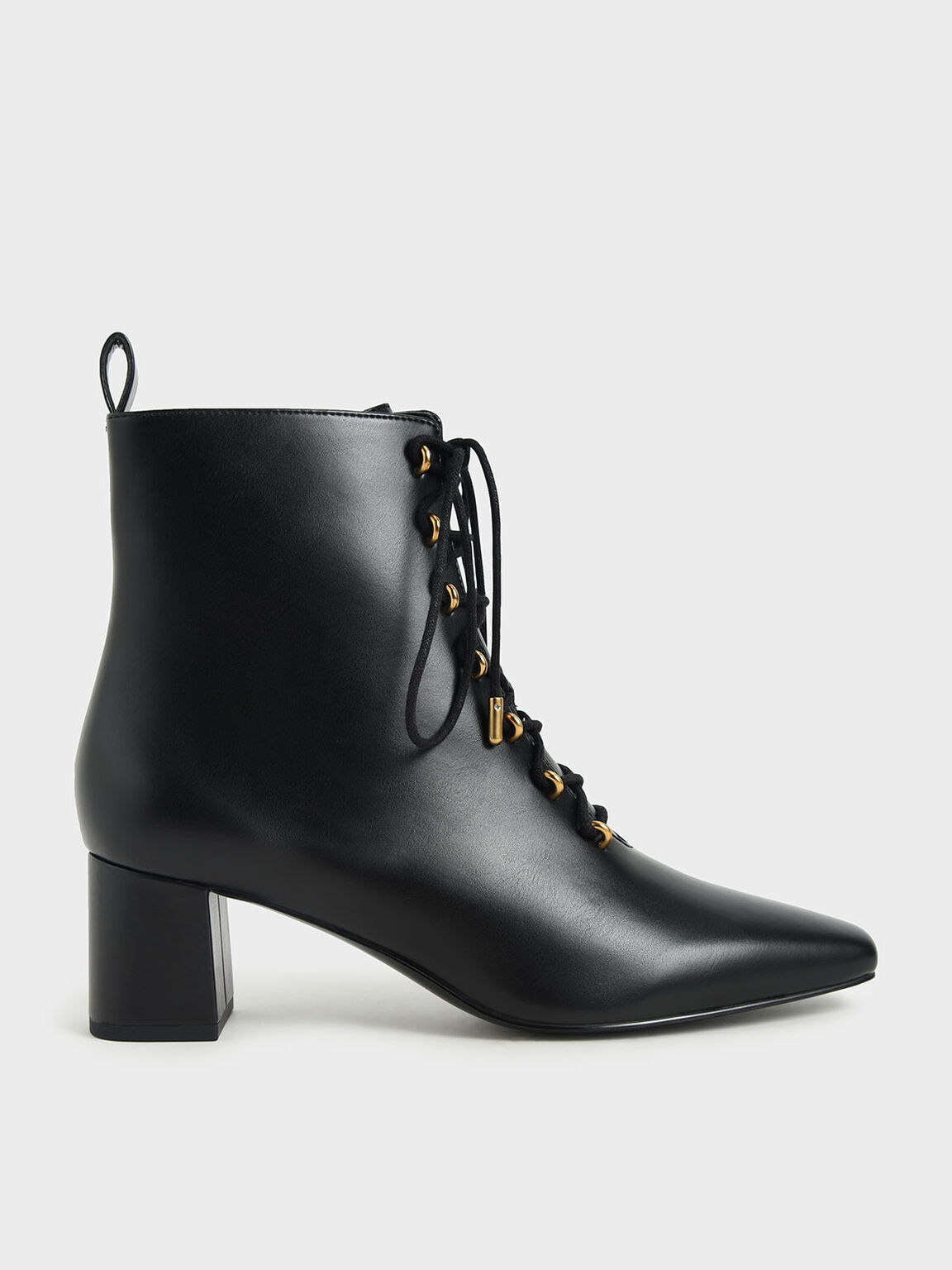 Metallic Lace-Up Ankle Boots, Black, hi-res