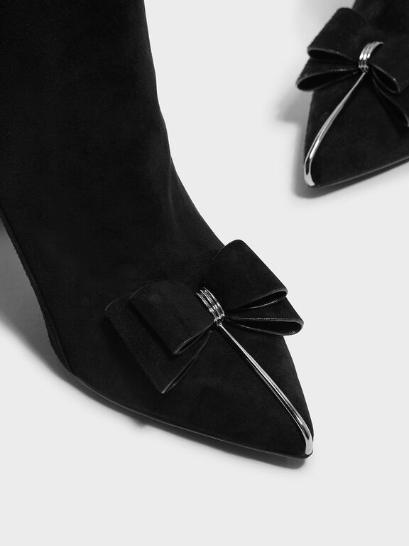 Bow Detail Suede Boots, Black
