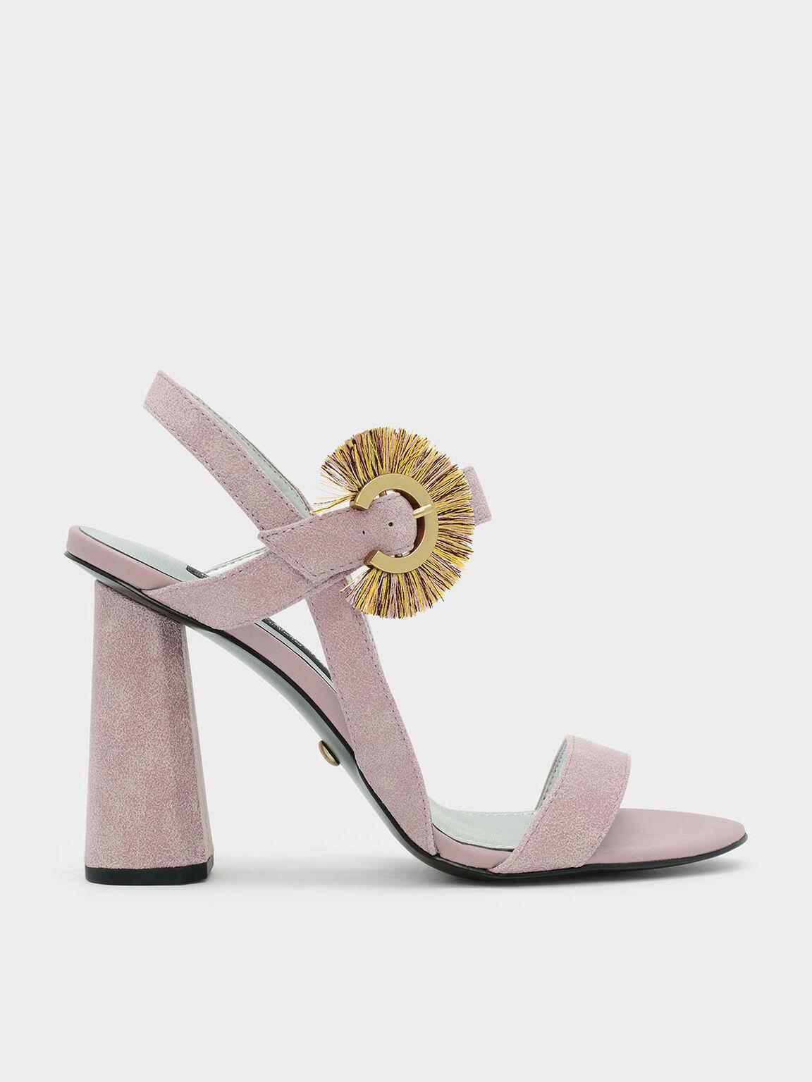 Fringe Detail Buckle Leather Sandals, 핑크, hi-res