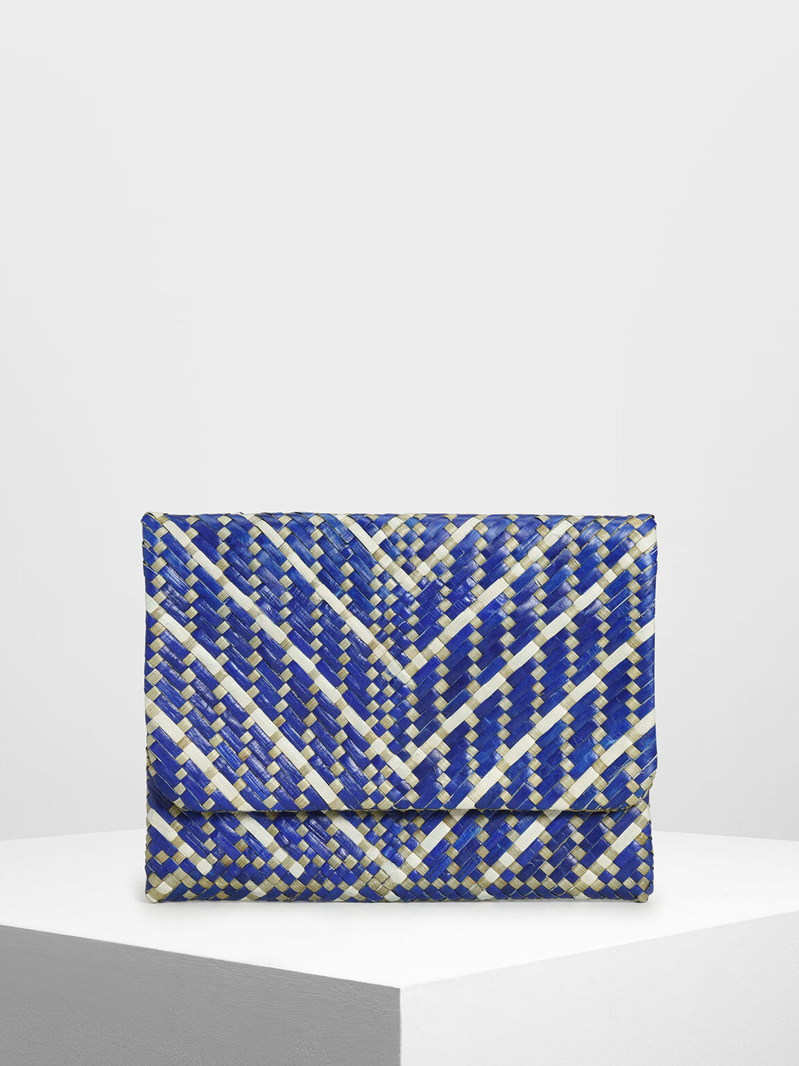 Handwoven Two-Tone Banig Front Flap Clutch, Dark Blue, hi-res