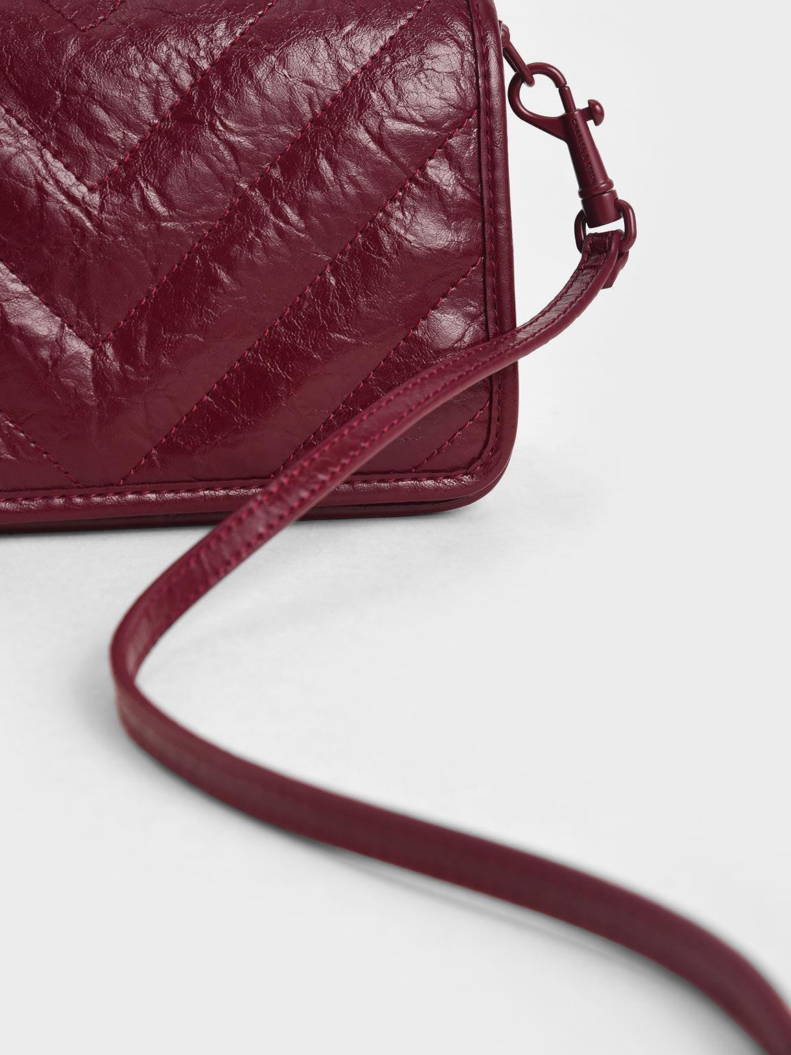 V字衍縫斜背包, 酒紅色, hi-res