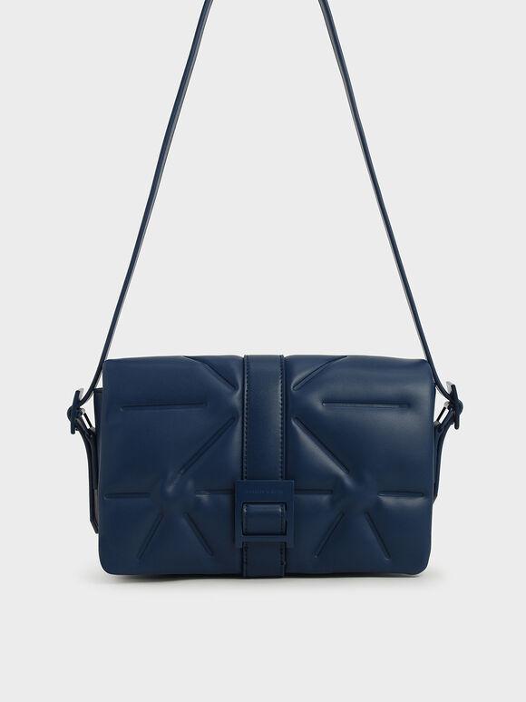 Quilted Shoulder Bag, Dark Blue, hi-res
