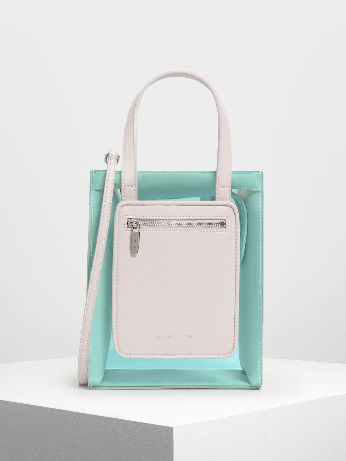 Light Pink Zipper Compartment Transpa Bag
