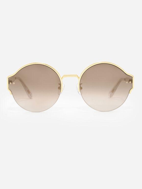 Round Half-Frame Sunglasses, Gold, hi-res
