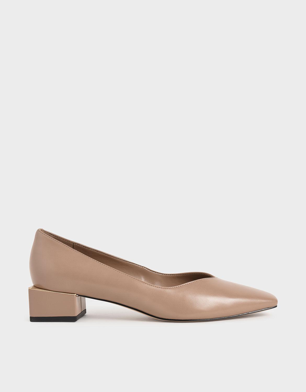 Nude Block Heel Court Shoes   CHARLES