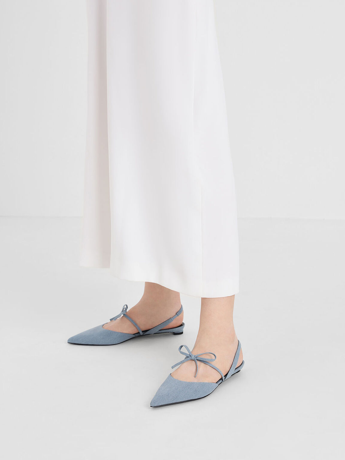Bow Strap Denim Slingback Flats, Light Blue, hi-res