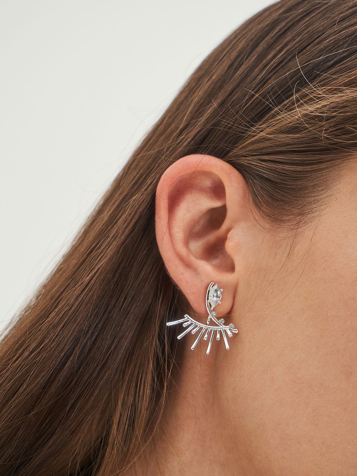 Swarovski® Crystal Stud Earrings, Silver, hi-res