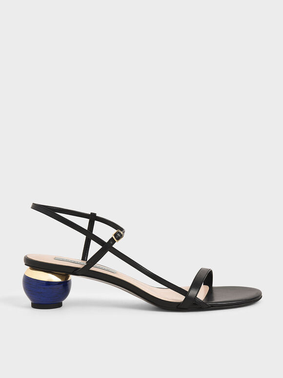 Sculptural Heel Ankle Strap Sandals, Black, hi-res