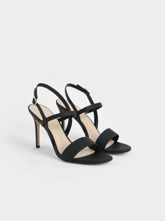 一字帶高跟涼鞋, 黑色, hi-res