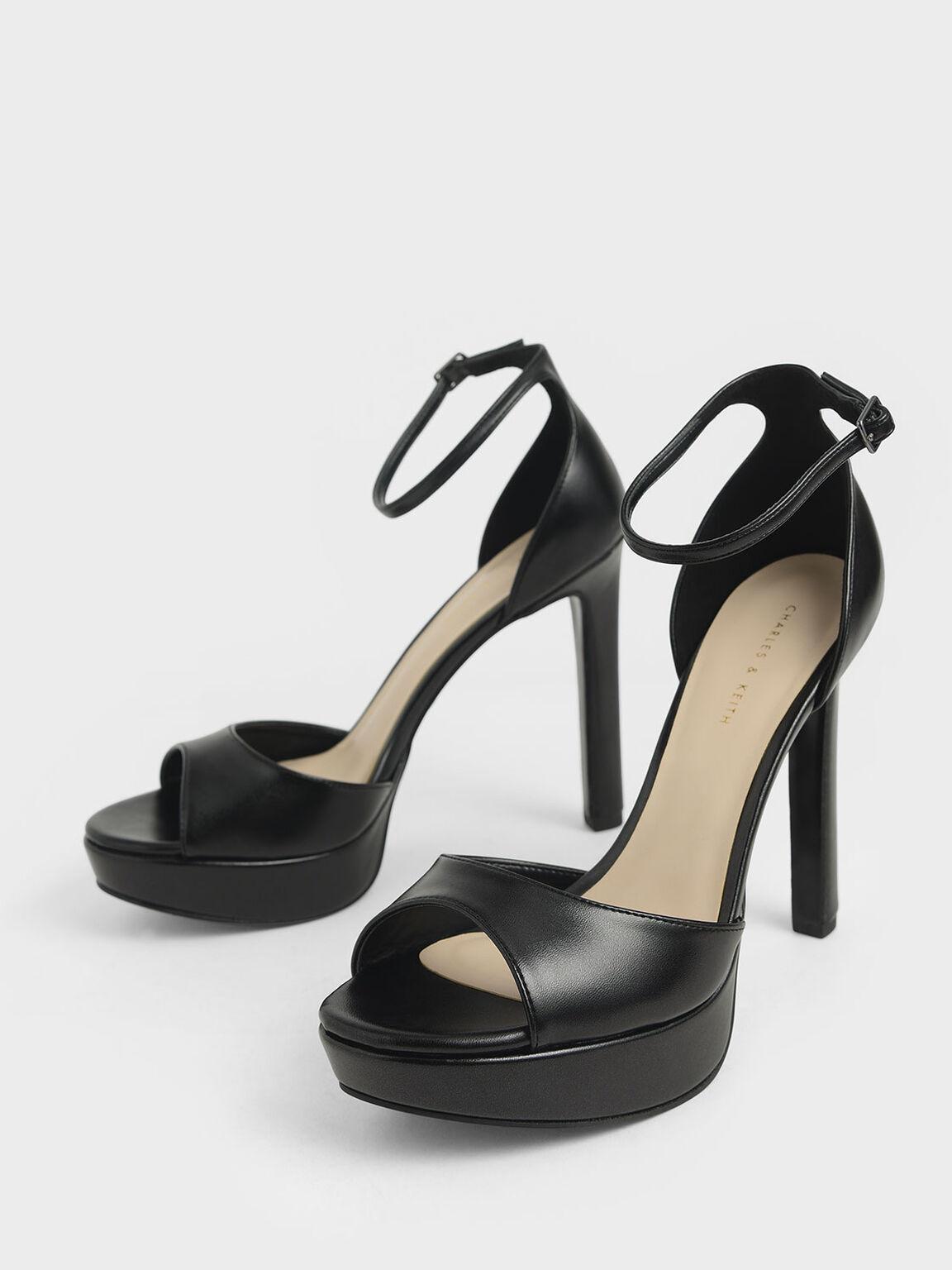 Metallic Platform Stiletto Heels, Black, hi-res