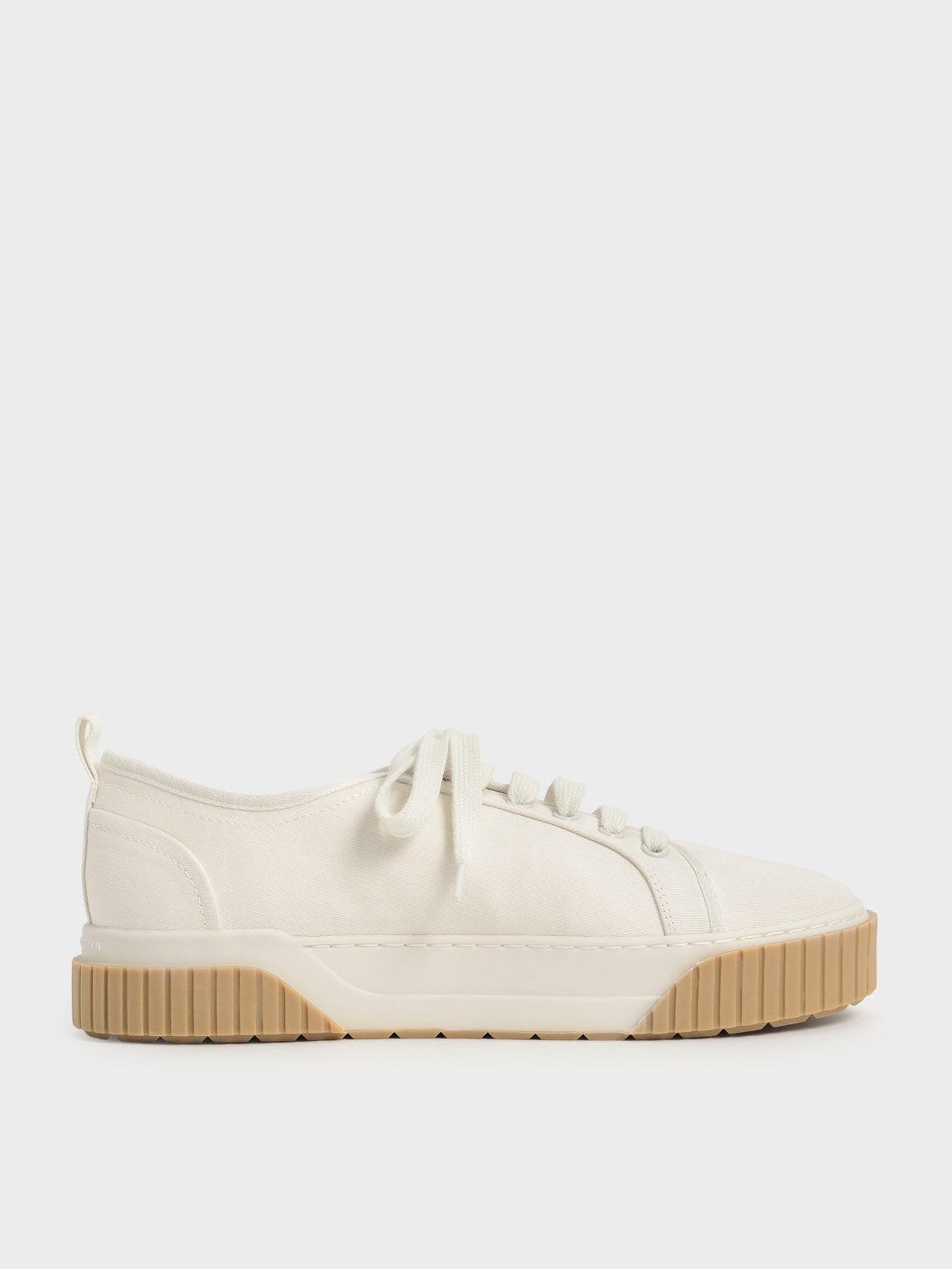 Cotton Low-Top Sneakers, Cream, hi-res