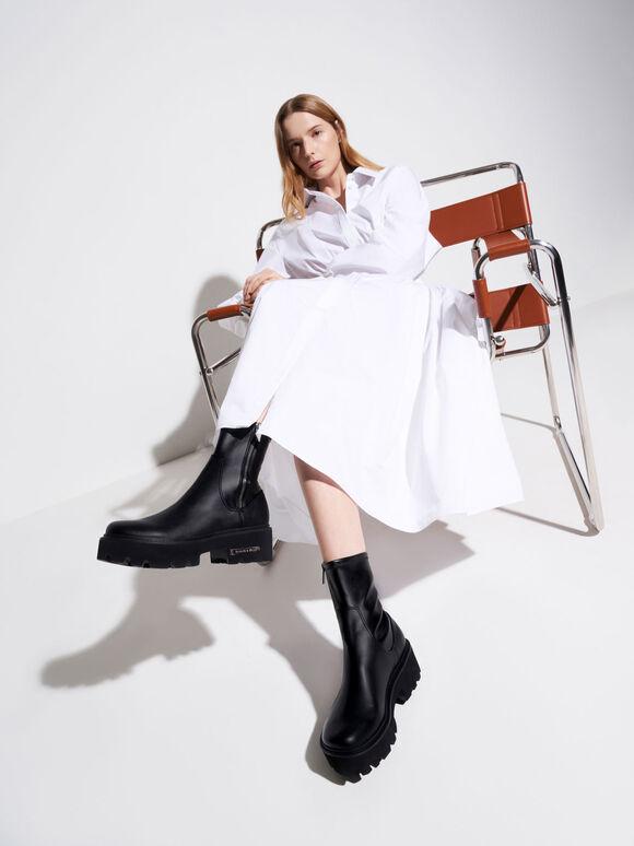素面拼接厚底短靴, 黑色, hi-res