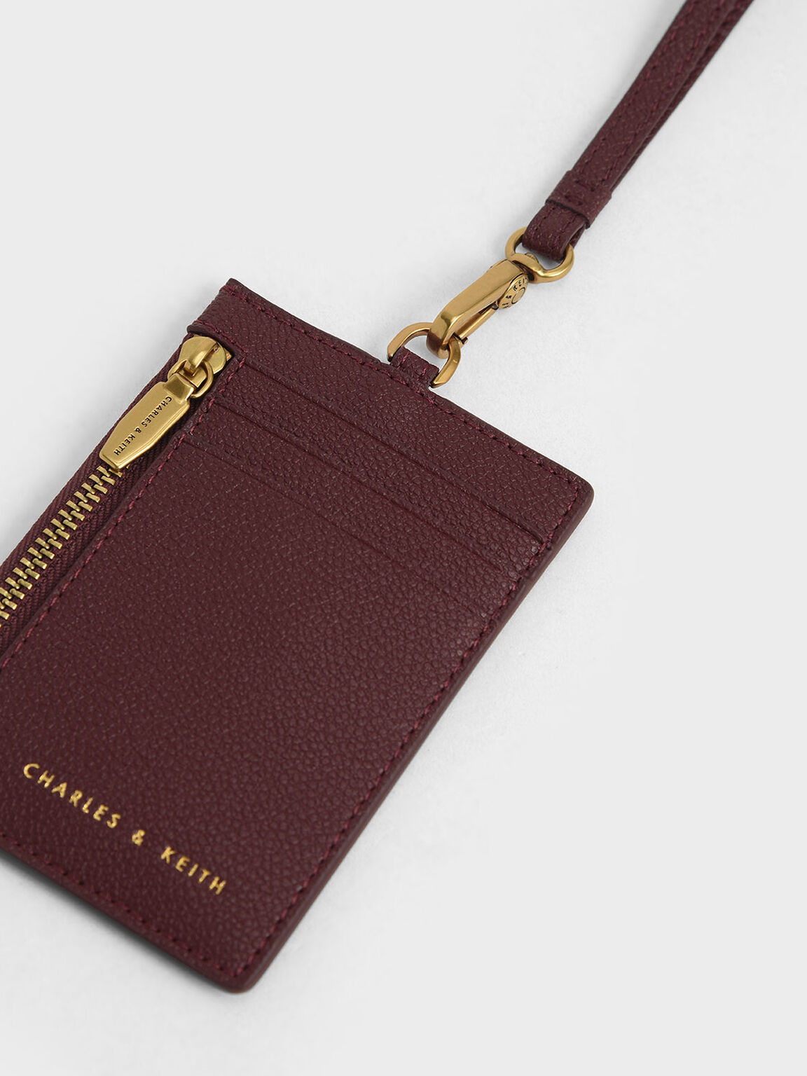 Side Zip Card Holder, Burgundy, hi-res