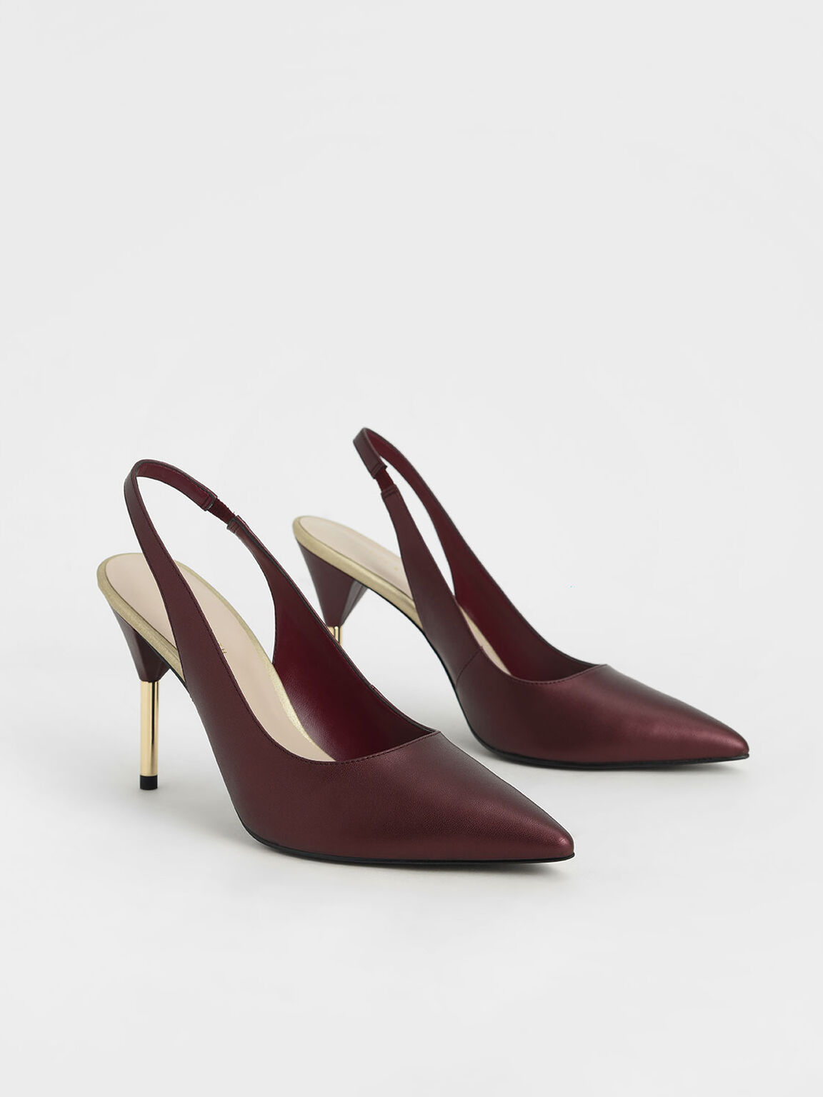 Slingback Stiletto Pumps, Red, hi-res
