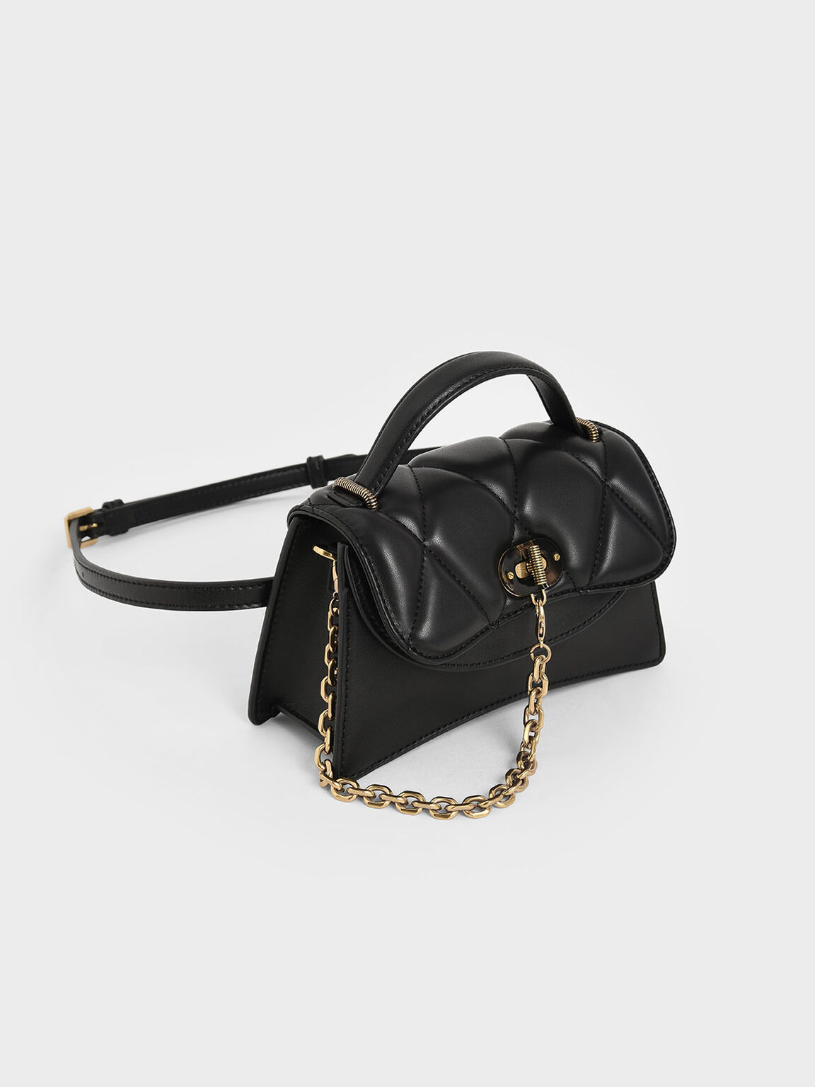 Padded Chain Link Bag, Black, hi-res