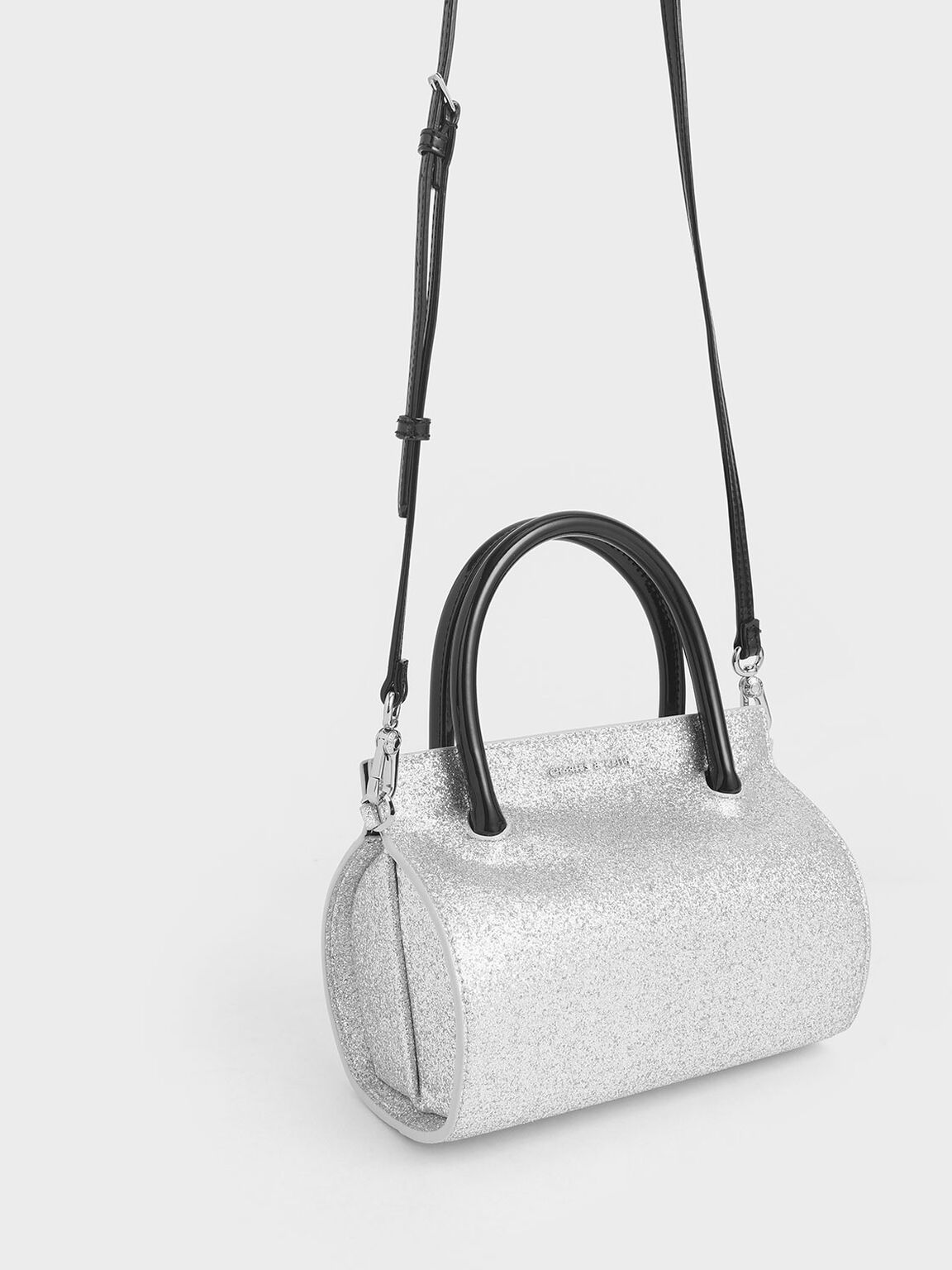 Glitter Structured Cylinder Bag, Silver, hi-res