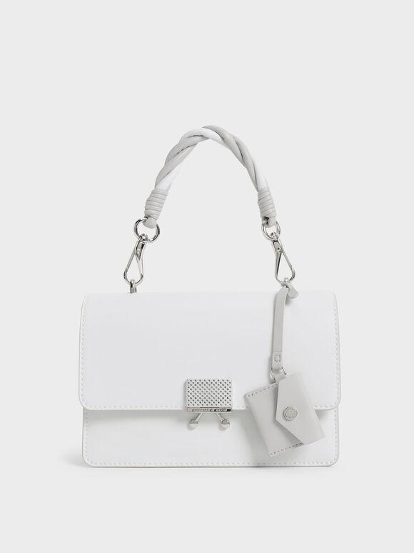 Twist Handle Shoulder Bag, White, hi-res