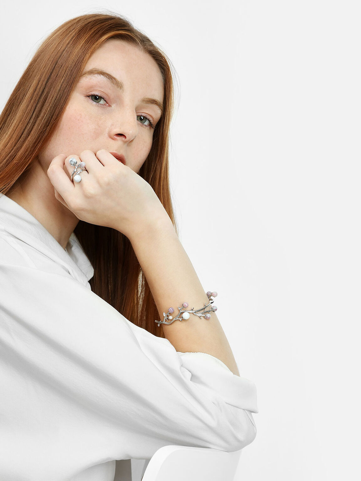 Semi-Precious Stone Cuff Bangle, White, hi-res