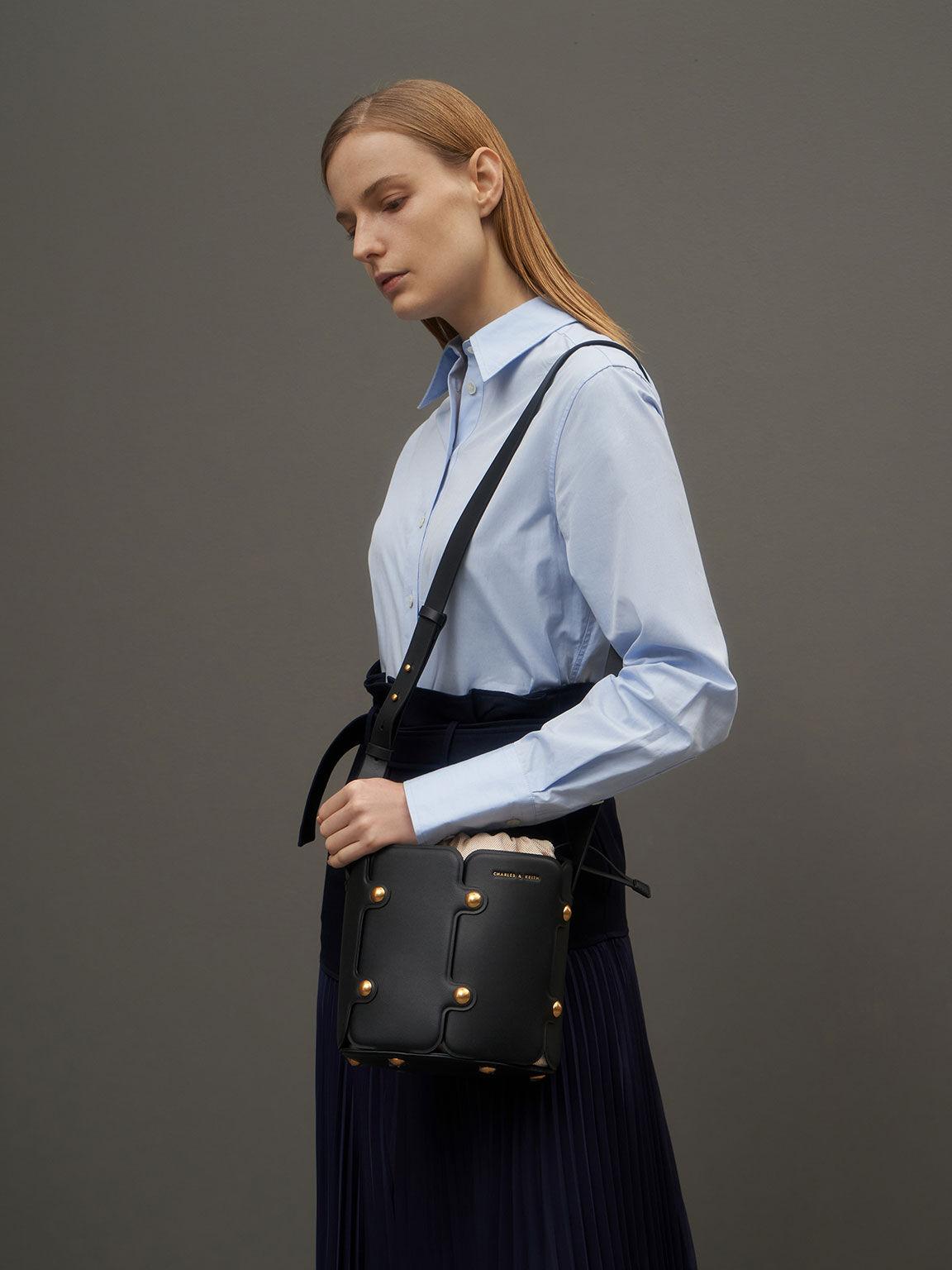 Studded Drawstring Bucket Bag, Black, hi-res