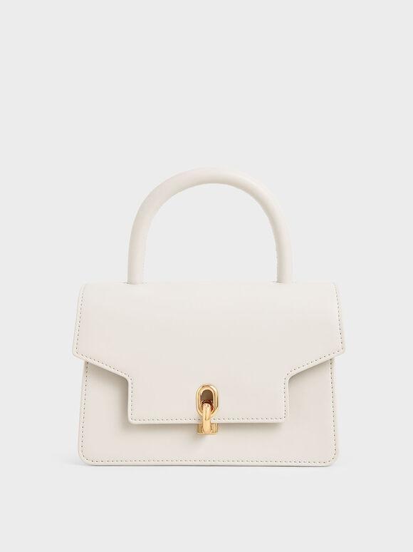 Leather Metallic Turn-Lock Bag, White, hi-res