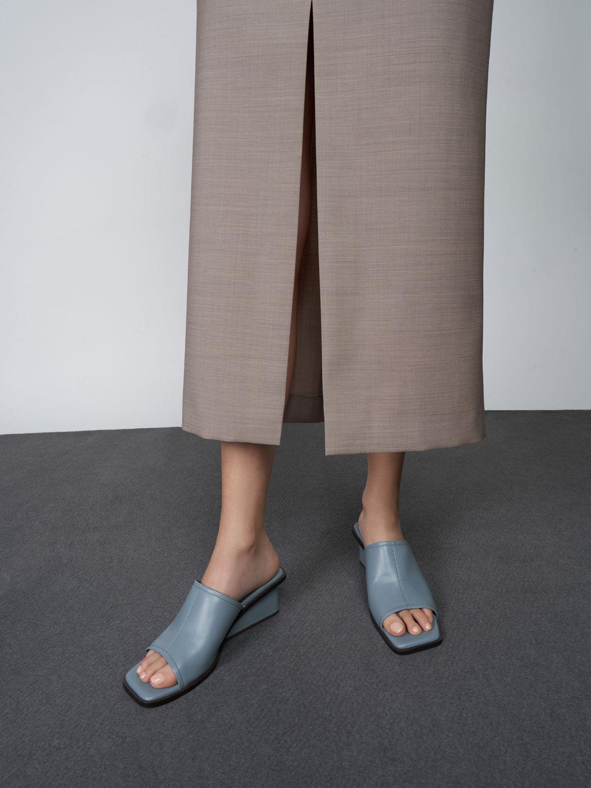 Square Toe Wedge Mules, Slate Blue, hi-res