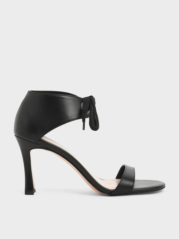 Bow Ankle Strap Sculptural Heel Sandals, Black, hi-res