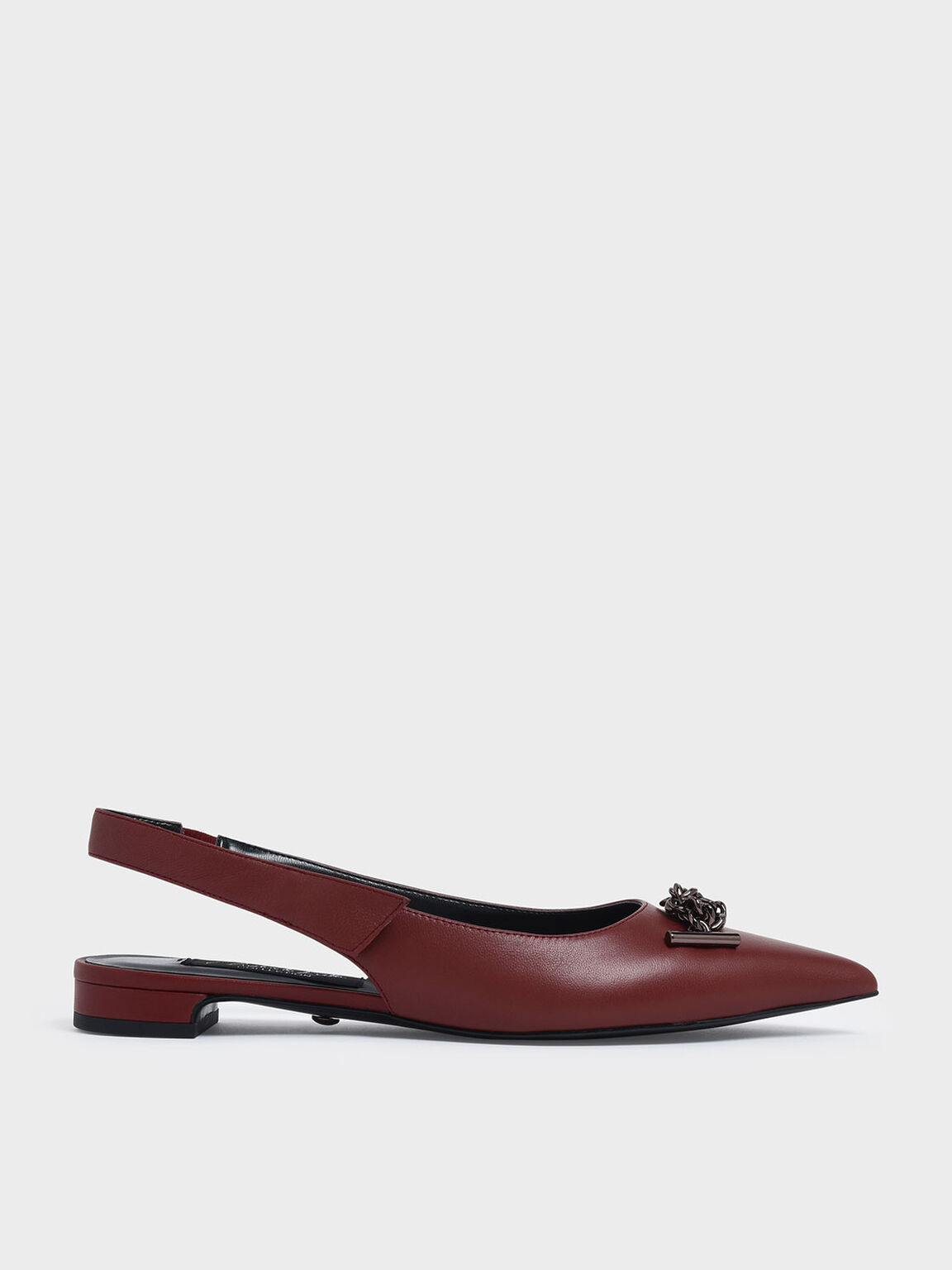 Knotted Chain Detail Leather Slingback Flats, Red, hi-res