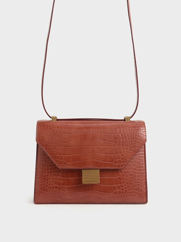 Croc-Effect Metal Accent Crossbody Bag, Clay, hi-res