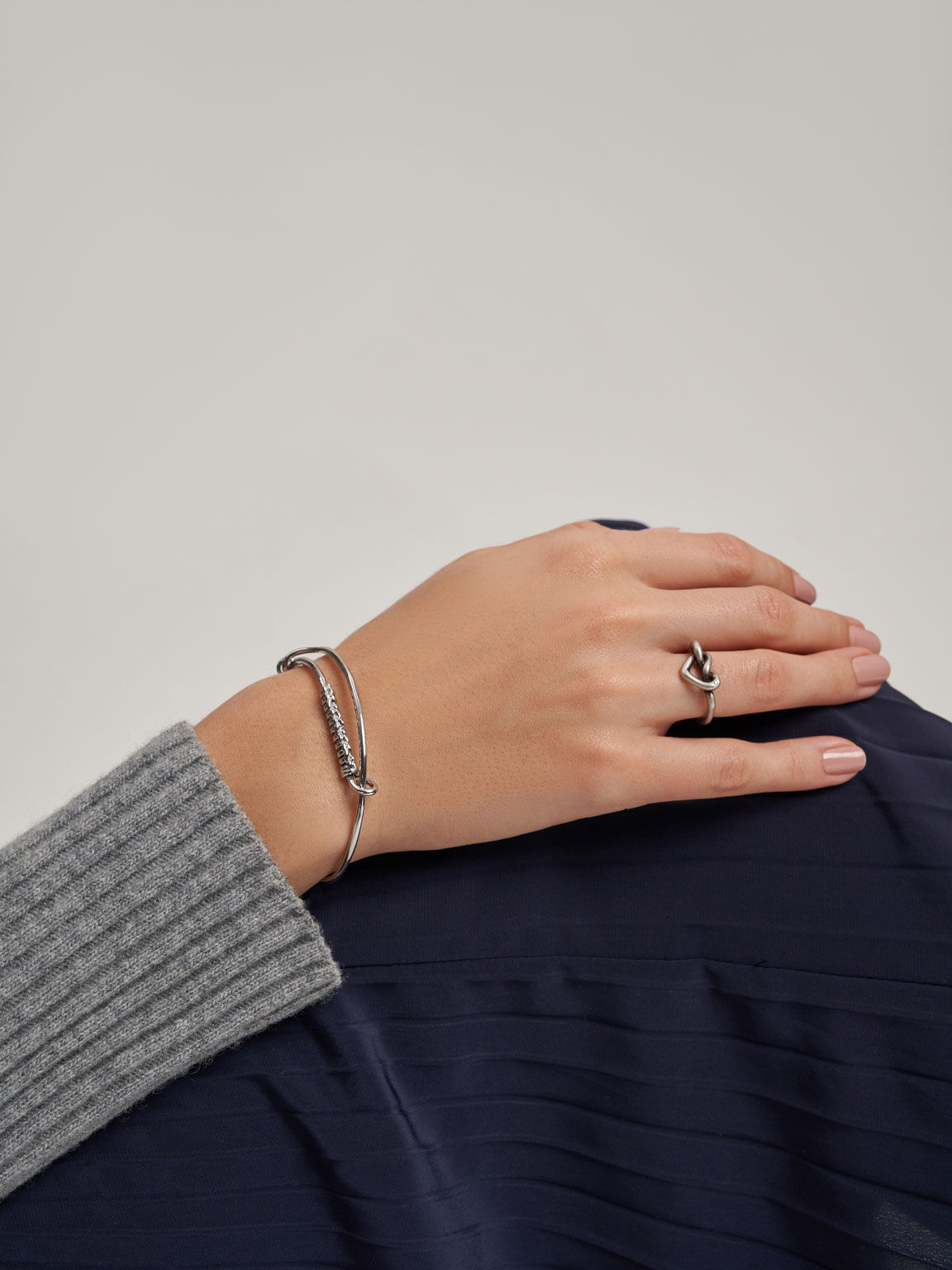 Swarovski® Crystal Embellished Heart Ring, Silver, hi-res