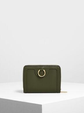 Ring Detail Wallet, Olive
