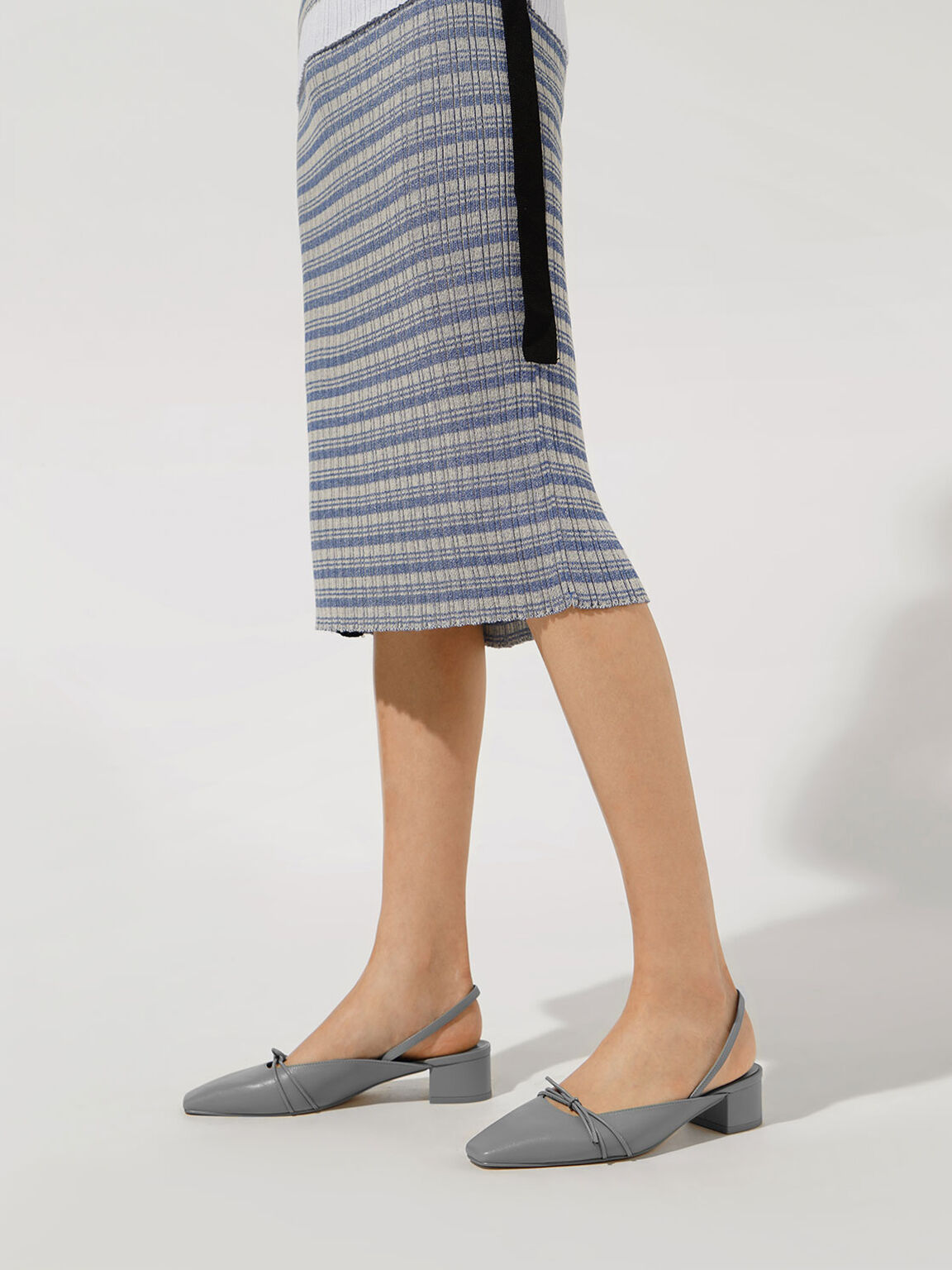 Front Tie Slingback Pumps, Blue, hi-res