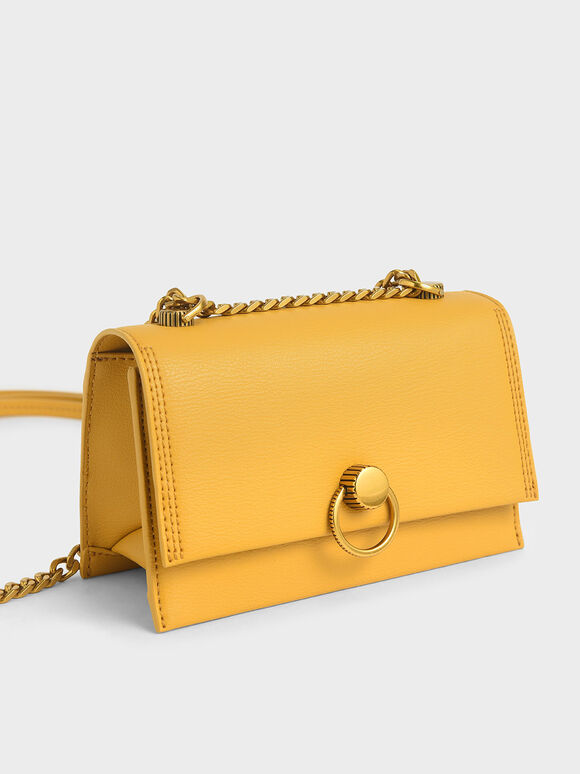 Ring Push-Lock Shoulder Bag, Yellow, hi-res