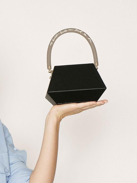 Acrylic Handle Structured Bucket Bag, Black, hi-res