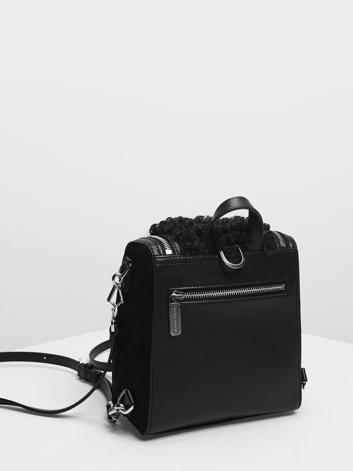 Zipper Detail Backpack, Black, hi-res