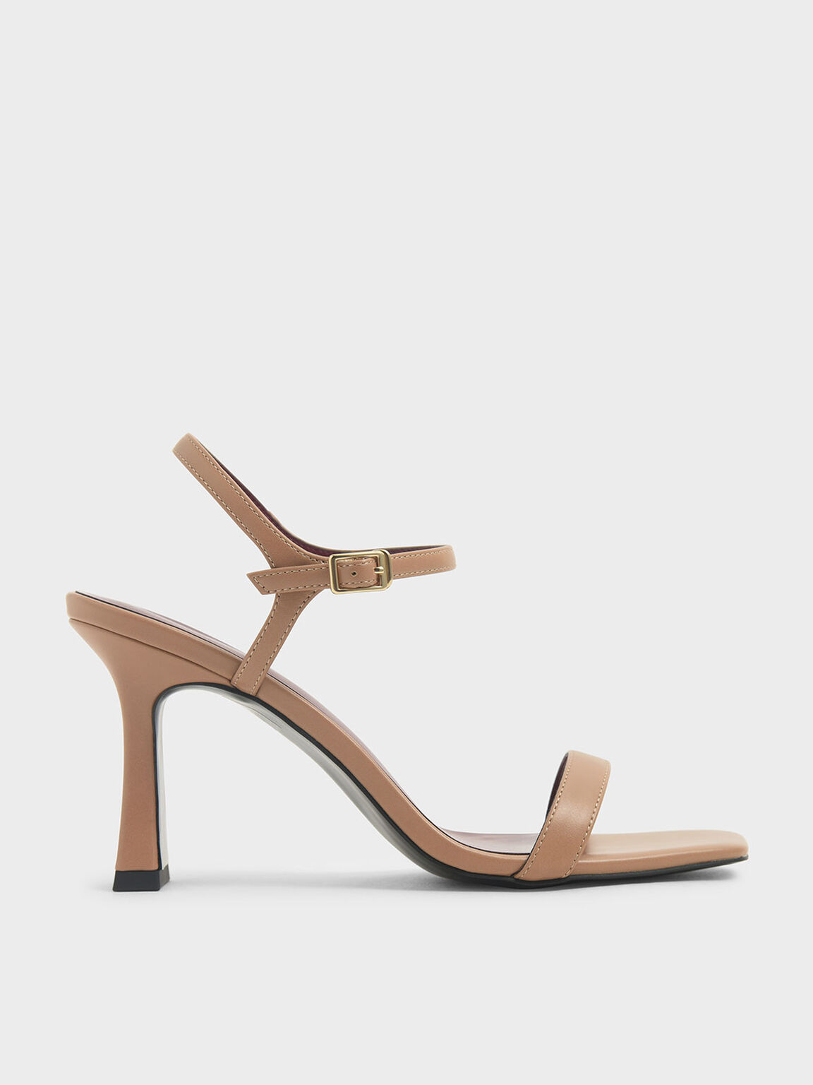 Sculptural Heel Sandals, Nude, hi-res