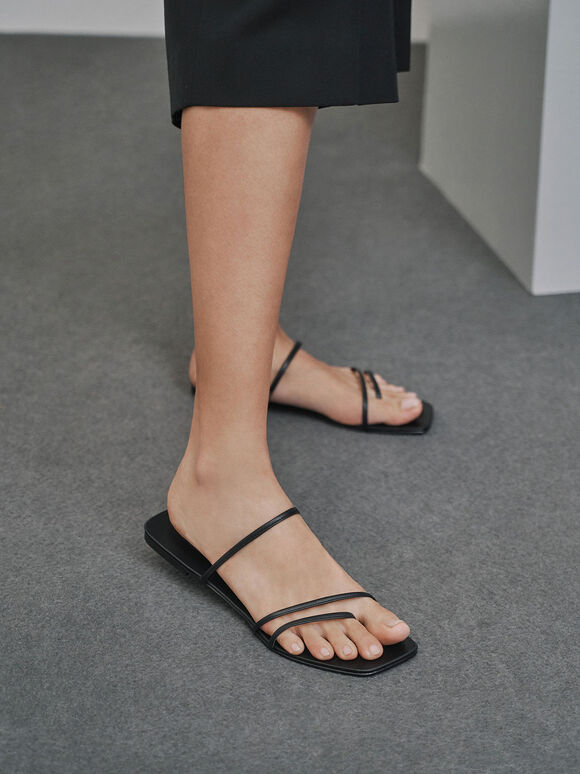 Strappy Thong Sandals, Black, hi-res