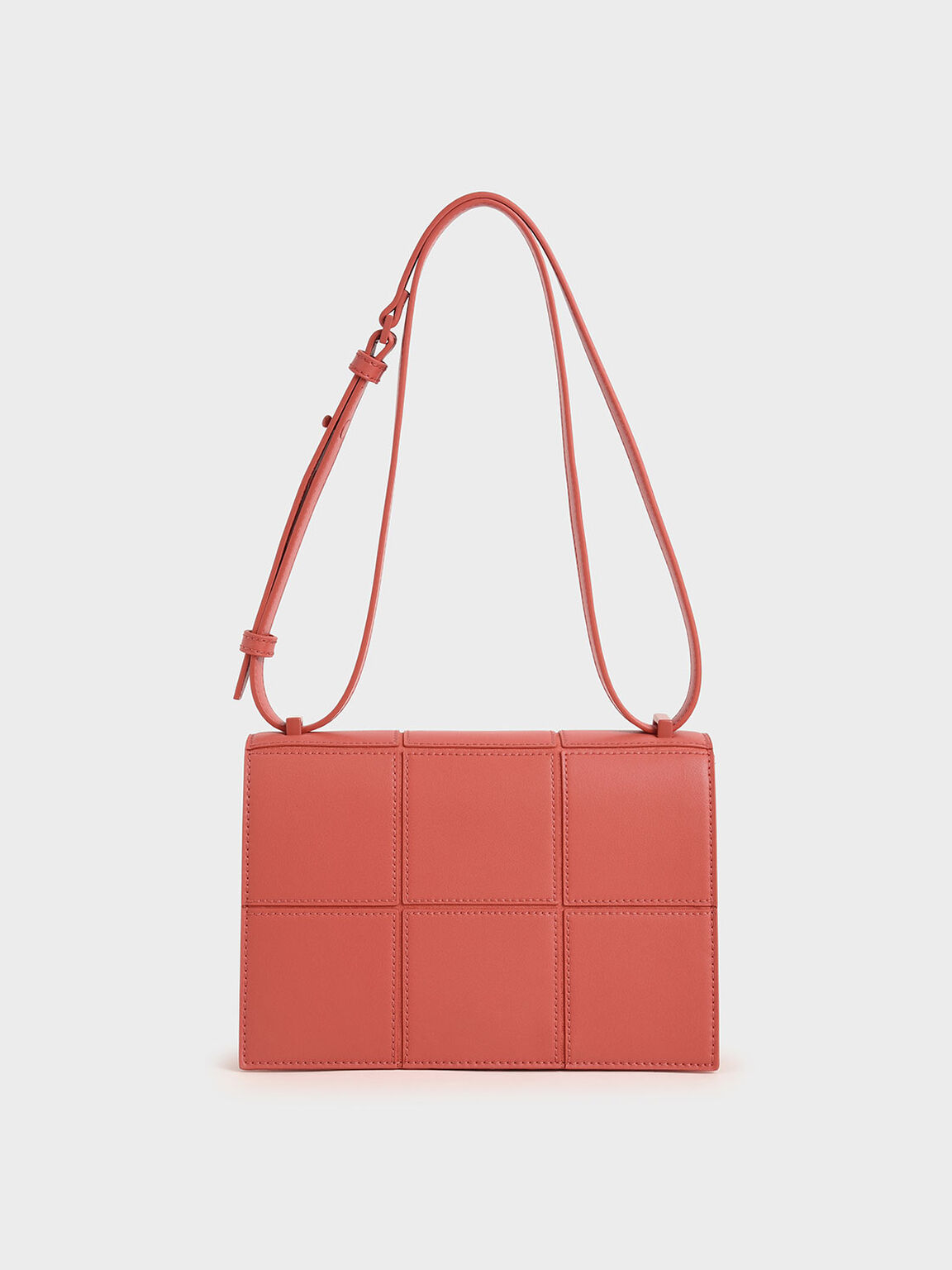 Textured Panelled Shoulder Bag, Coral, hi-res